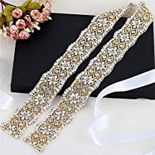 XINFANGXIU 1 yard Rhinestone Applique con Cristales y Perlas para el Vestido  Headpieces Bolsas Cinturon para d2434d127125