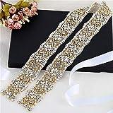 XINFANGXIU 1 yard Rhinestone Applique con Cristales y Perlas para el Vestido Headpieces Bolsas Cinturon para Vestido Novia, Cinturones Boda