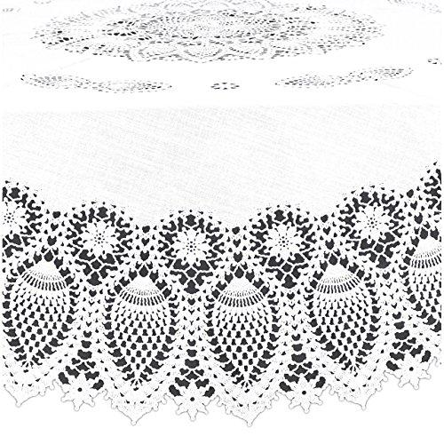 KERSTEN · DIS-9510 Outdoor-Tischdecke rund abwischbar HD-Collection ' Lace Crochet ' 178cm · weiß
