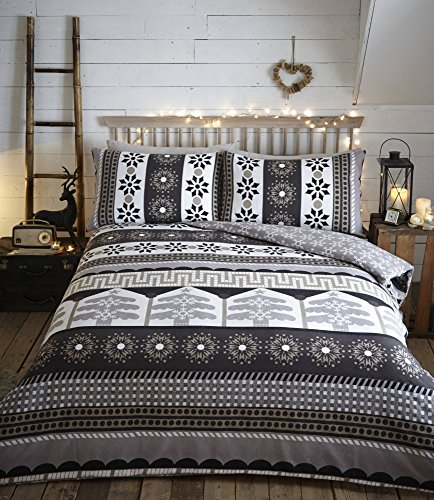 Aspen – Charcoal – Flannelette Duvet Cover Set – Kingsize