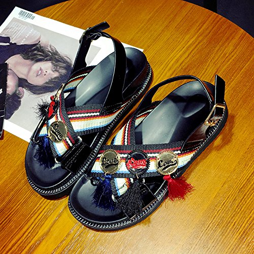 RUGAI-UE Infiorescenza staminifera sandali scarpe studente fondo spesso confortevole antiscivolo per scarpe Black