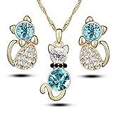 Ogquaton Calidad superior 4 piezas Moda Zircon Crystal Cat Collar Pendientes animales Conjunto de joyas, azul plata