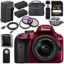 Nikon D3400 DSLR Camera With AF-P 18-55mm VR Lens (Red) + EN-EL14 Replacement Lithium Ion Battery + External Rapid Charger + Sony 32GB SDHC Card + Carrying Case Bundle