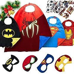 LAEGENDARY Costumi da Supereroi per Bambini - Regali di Natale - 4 Mantelli e Maschere - Logo di Spiderman Visibile al Buio – Giocattoli per Bambini e Bambine