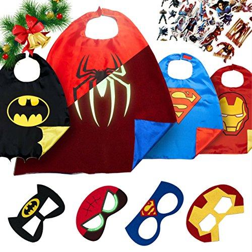 LAEGENDARY Superhelden Kostüme für Kinder -4 Capes und Masken-Kinderspielzeug für Weihnachte-Im Dunkeln Leuchtendes Spiderman Logo - Spielsachen für Jungen und Mädchen - Karneval Fasching Costume (Machen Elf Kostüme)