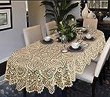 Große Tischdecke mit Spitze, oval oder rund, Weiß oder Beige, hochwertig, beige, 63