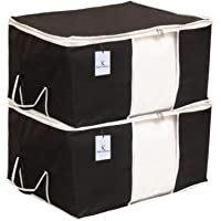 Kuber Industries Underbed Storage Bag, Storage Organiser, Blanket Cover Set of 2 - Black, Extra Large Size-CTKTC14135
