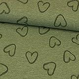 Jersey Stoff meliert Herzen olivgrün Damenstoff - Preis
