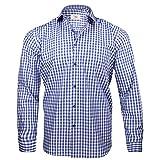 Captain Classic Fit Herren Hemden (in 24 Verschiedenen Farben) Langarm-Hemd 100% Baumwolle (M, Blau (Kariert))