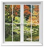 Premiumdesign Wandtattoo Fenster Ausblick in einen Japanischen Garten in Originalgröße 120 x 130cm farbig #132