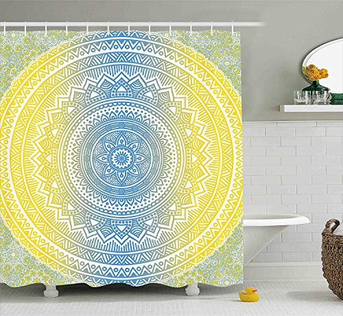 VVIANS Blue and Yellow Shower Curtain, Ombre Mandala Oriental Universe Spirit and Ritual Themed Symbol Image Art, Fabric Bathroom Decor Set with Hooks, 60 * 72 Inch, Blue Yellow -