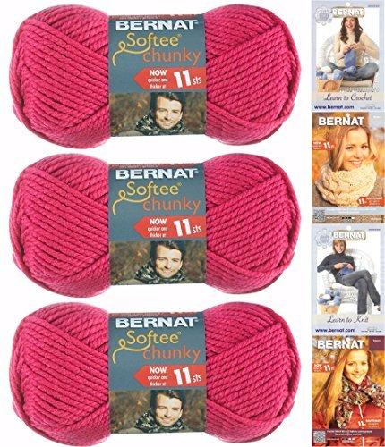 Bernat Softee Chunky Garn Bundle, Super klobigen # 6, 3Knäuel Hot Pink 28416 -