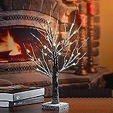 LED Baum Lichter, MaLivent 24er LED Lichterbaum Schnee Baum Weihnachtsdeko, 60CM hoch, Warmweiß, 3 AA Batterie, Schwarz Lichterzweig Lichterkette Weihnachtsbaum für Innen und Außen