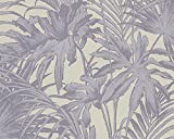A.S. Création Vliestapete Soraya Tapete im Palmenprint Jungle Style 10,05 m x 0,53 m grau lila Made in Germany 305884 30588-4