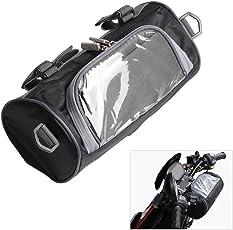 Moto manubrio forcella anteriore portaoggetti contenitore con trasparente touch screen piccola borsa e tracolla regolabile e rimovibile