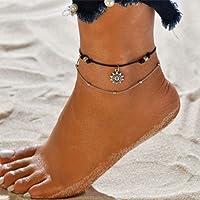 Fashband argento sole fiore cavigliere a strati braccialetto alla caviglia estate gioielli Boho catena cavigliera da…