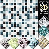 4 Stück 25,3 x 25,3 cm blau schwarz weiß Fliesenaufkleber Design 14 I 3D Mosaik Fliesenfolie Küche Bad Aufkleber Grandora W5423