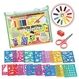 STENZTIME Ultimate Stencil Set | Large 70 Piece Stencil Drawing Kit and Over 260 Shapes | Ideal Educational Toy and Creativity Kit |The Perfect Kids Gift for any occasion!