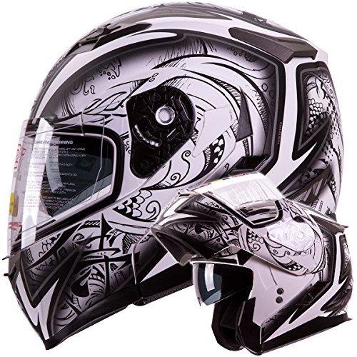Modular Motorrad Dot Helm (IV2Helme Demon Samurai Dual Visor Modular Flip Up Motorrad Schneemobil Helm Dot (M) von IV2)