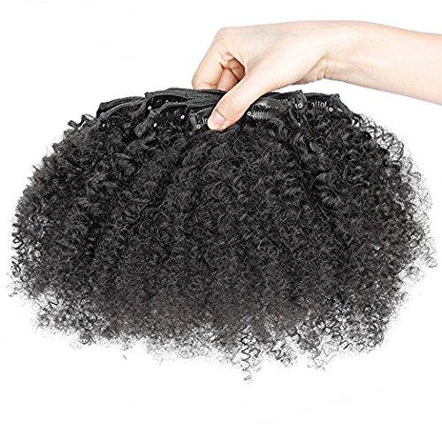 hotqueen Afro Kinky Extensions de cheveux à clip Barrettes and Brazilian Virgin Hair Clips 100% Human Hair extensions7pcs/Kit de Natural Color