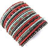 Bracelet 'french touch' 'Katmandou'black turquoise red.