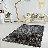 Polyester-Teppich Handgemacht Hochflor Langflor Shaggy Super Soft&Shiny Einfarbig Anthrazit 120x170 cm