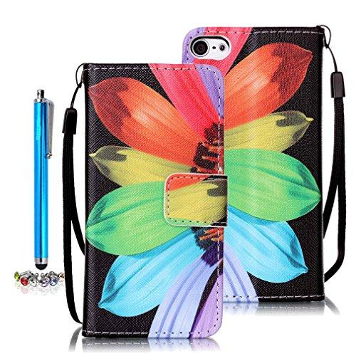 A9H iPod Touch 5G/6G Wallet Tasche Hülle - Ledertasche im Bookstyle in Braun - [Ultra Slim][Card Slot][Handyhülle] Flip Wallet Case Etui für iPod Touch 5G/6G -10A (Ipod Touch 5g Smart Case)
