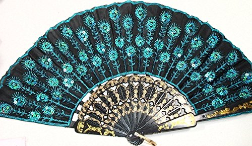 en Stoff Hand Fan Deko Modische (NEU blau) (Boudoir Kostüme)