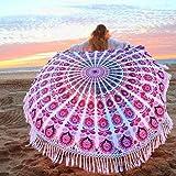 Serviette de Plage, OUTERDO Drap de plage Serviette Plage Mandala Femme Tapisserie Ronde Fleurs Serviette Plage Yoga Glands Décoratifs Indien Châle de Yoga