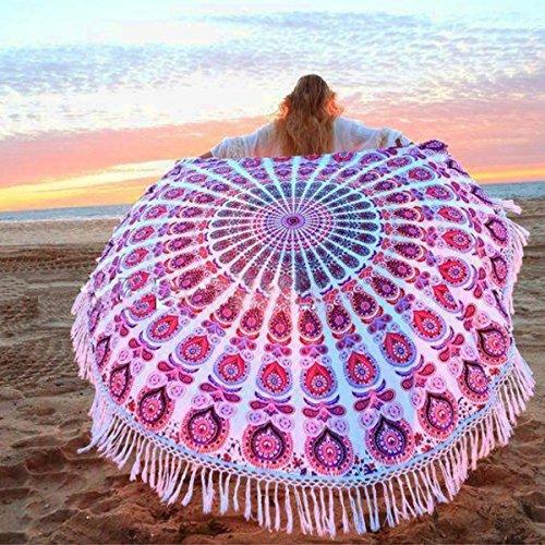 Serviette de Plage, OUTERDO Drap de plage Serviette Plage Mandala Femme Tapisserie Ronde Fleurs Serviette Plage Yoga Glands Décoratifs Indien Chle de Yoga