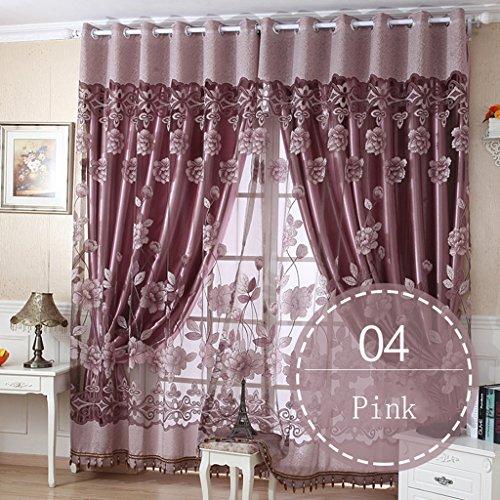 Nclon Romantisch Vorhänge gardinen,Licht Blockiert Thermisch Isoliert UV Schutz Blumen Voile Ösen Vorhänge gardinen-Rosa 1 Panel W150cm*D270cm (1 Panel Schiene)