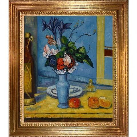 overstockArt Cezanne La Vase Bleu Painting with Vienna Wood Frame, Gold Leaf Finish