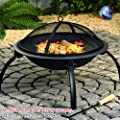 Large Black Fire Pit Steel Folding Outdoor Garden Patio Heater Brazier Stove Grill Camping Bowl Bbq With Poker Grate Grill Medium57x37cm by Denny International®