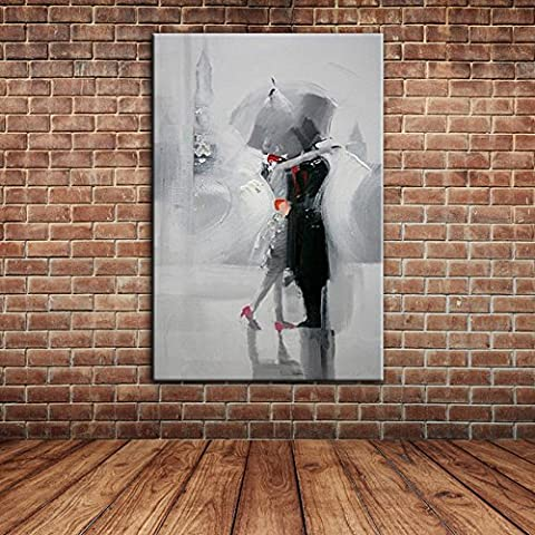 IPLST@ Baiser amoureux romantiques dans le jour pluvieux, peinture à l'huile moderne d'art de toile pour la chambre à coucher, salon, décoration de pièce de diner -24x36inch (Sans cadre, sans brancard)