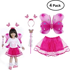 TENDYCOCO 4pcs/Set Girls Princess Fairy Costume Set with Dual-Layer Headband Wand Tutu Skirt for Kids Birthday Halloween Christmas Cosplay Costume Party Ages 3-10 (Rose Red)