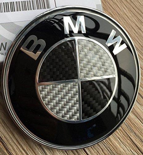 Insigne-pour-coffrecapot-avant-de-voiture-Logo-BMW-Noir-et-blanc-Effet-fibre-de-carbone-82-mm-Compatible-avec-vhicules-BMW-Sries-1-3-4-5-6-7-8-X1-X3-X4-X5-X6-M2-M3-M5-M6-E36-E38-E39-E46-E53-E60-E61-E6
