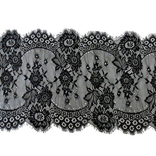 Gazechimp Elastische Vintage Spitzenborte Spitzenband Dekorband Spitzenbordüre Hochzeit Stirnbänder Bekleidung Dekoration - Schwarz, 33cm*290cm -