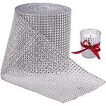 BENECREAT 10 Yardas Diamante espumoso brillante Rollo de cinta de malla de diamantes de imitacion para