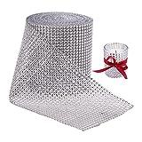 BENECREAT 10 Yardas Diamante espumoso brillante Rollo de cinta de malla de diamantes de imitacion para manualidades, Decoraciones para eventos, Pastel de bodas, CumpleaNos, 4.75