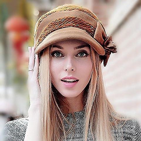 WE&ZHE protezione del cappello Berretti bacino Flat Top giunzione stile britannico di moda marea farfalla decorare Mantenere autunno caldo e inverno