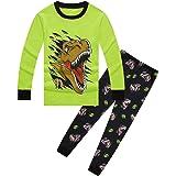 Conjunto de pijama para niños con estampado de dinosaurio en 3D, ropa de dormir de algodón de manga larga, ropa de dormir de