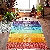 Mandala Spiaggia Asciugamano Yoga Mat Rainbow Tappetino per Yoga 7 Chakra, Tappeto Spiaggia teli da bagno Scialle Home Decor, 150 x 75 CM
