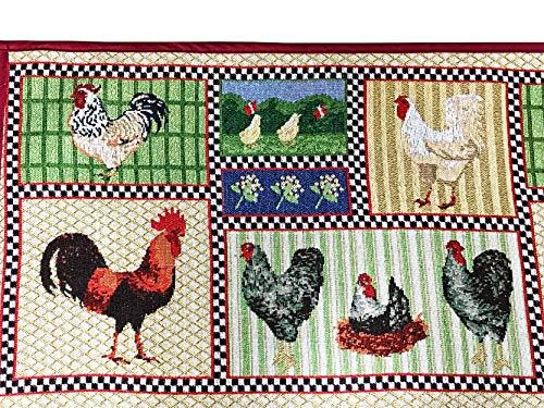 Cojines de cocina de impresión de gallinas / alfombra / alfombra de área, 134 x 49 cms. Súper absorbente, antideslizante con respaldo de goma. Lavable hecho con Jacquard (Polyster y Nylon)