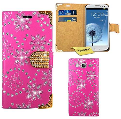 Preisvergleich Produktbild Samsung Galaxy S3 / S3 Neo Handy Tasche, FoneExpert® Bling Luxus Diamant Hülle Wallet Case Cover Hüllen Etui Ledertasche Premium Lederhülle Schutzhülle für Samsung Galaxy S3 / S3 Neo (Rosa)