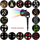 Picture Of Christmas Landscape Lights, Halloween Light Projector, 15 Patterns Outdoor Rotating Light Projector Spotlight, Garden LED Waterproof Light for Christmas Decoration Outdoor Garden, Yard, Wall Decorating Xmas