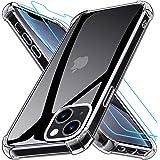 Grebuy Coque Compatible avec iPhone 13 Mini avec 2 Protecteur D'écran en Verre Trempé, Housse de Protection Antichoc Compatib