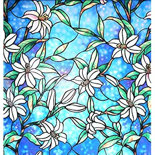 Arthome Stained Glass Window Film Privacy Film Frosted Window Sticker No Glue Self Static Cling Anti UV Non-Adhesive Film 90CM x 254CM