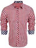 Coofandy Herren Hemd Kariert Cargohemd Trachtenhemd Baumwolle Freizeit Regular Fit (L, A-Rot)