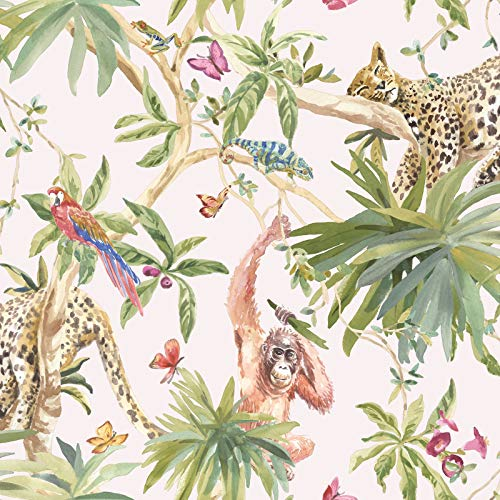 Dschungel-Tier-Tapete hellrosa Holden 90691