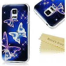 Custodia per Samsung Galaxy S5 Mini,Cover Case Protettiva,Mavis's Diary Modello PC Diamand Bling Strass Farfalla (Mini Cellulare Schiuma)